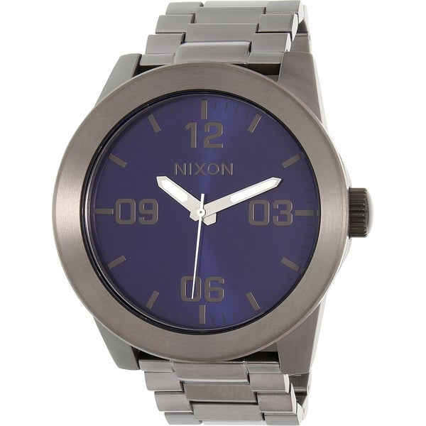 Nixon Men's Gunmetal Stainless Steel Corporal SS A3462065 Quartz Watch