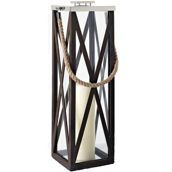 Driftwood Cross Wood Frame 32-inch Lantern