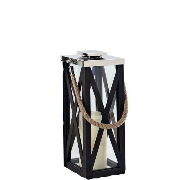 Driftwood Cross Wood Frame 20-inch Lantern
