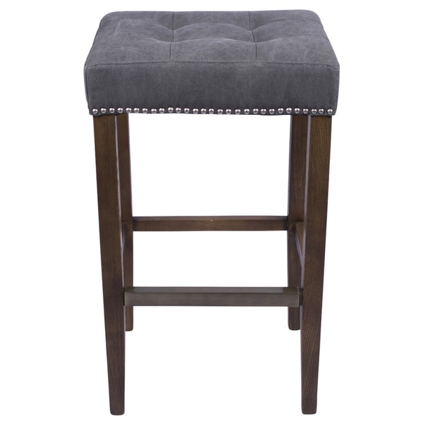 Nashville Slate Grey 30-inch Nailhead Bar Stool
