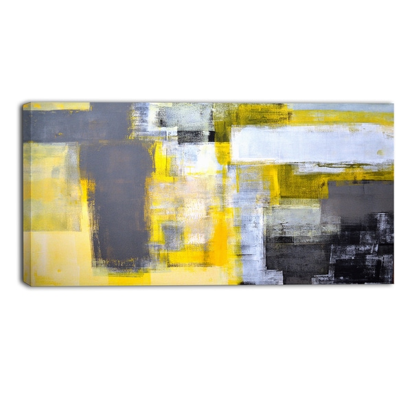 Designart - Grey and Yellow Blur Abstract - Abstract Canvas Art Print