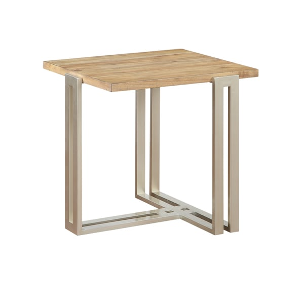 Elements Contemporary Wood Top w/ Silver Metal Base End Table