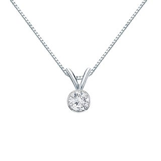 Auriya 14k Gold 1/4ct TDW Round-Cut Diamond Solitaire Bezel Necklace (H-I, VS1-VS2)