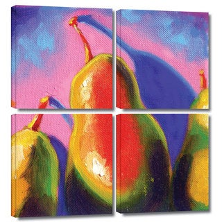 ArtWall Susi Franco's Pearfect Shadow, 4 Piece Gallery Wrapped Canvas Square Set