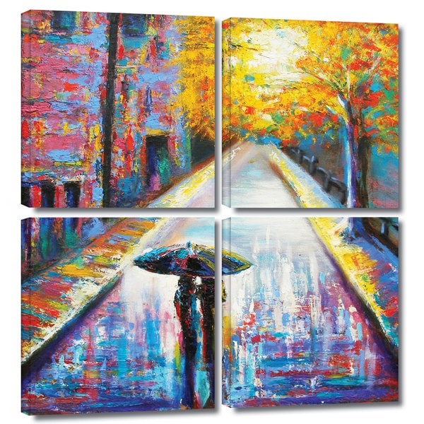 ArtWall Susi Franco's Paris Back Street Magic, 4 Piece Gallery Wrapped Canvas Square Set