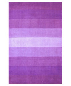 Hand-tufted Purple Stripes Wool Rug (5' x 8')