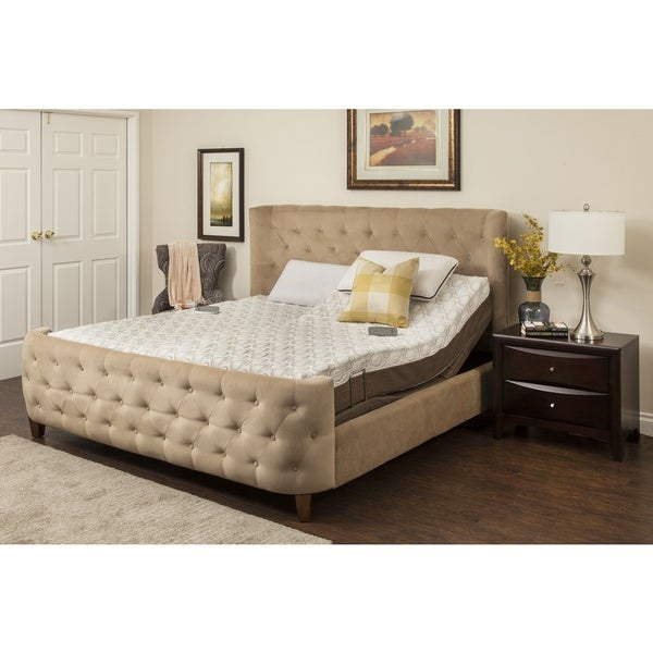 Blissful Nights Peony 10-inch King-size Memory Foam Mattress with Adjustable Base