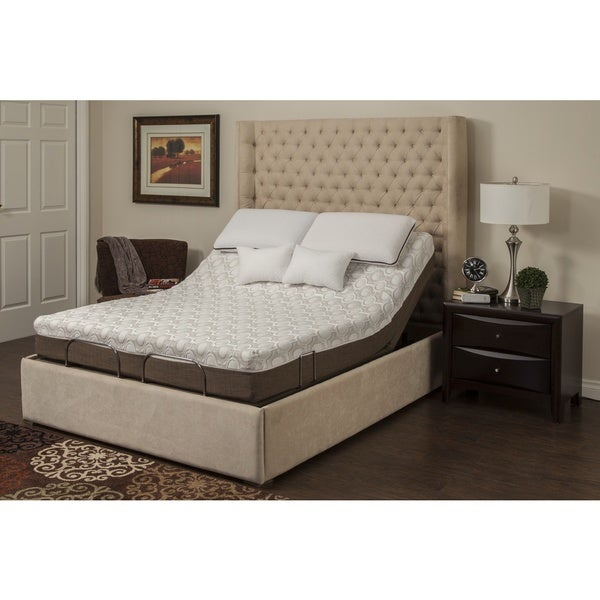 Blissful Nights Peony 10-inch Queen-size Memory Foam Mattress and Adjustable Base