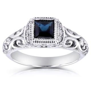 Annello 14k White Gold Sapphire and 1/5ct TDW Diamond Antique Ring (G-H, I1-I2)
