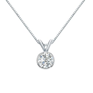Auriya 14k Gold 1/2ct TDW Round-Cut Diamond Solitaire Bezel Necklace (H-I, SI1-SI2)