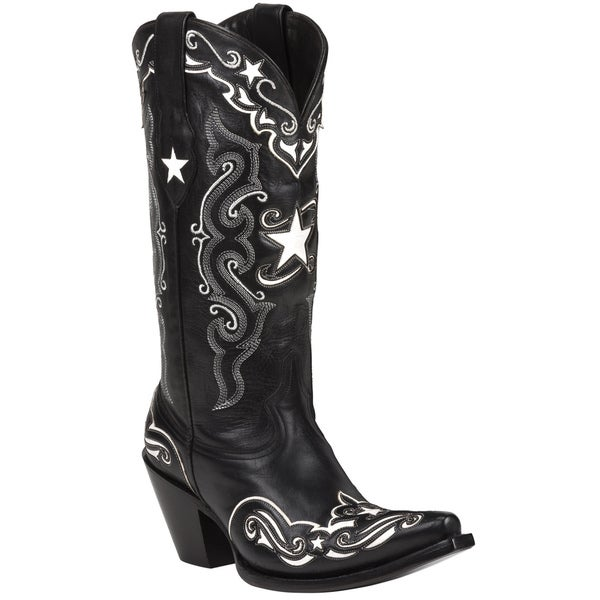 Black Star Leather Starr Black/ White Boots