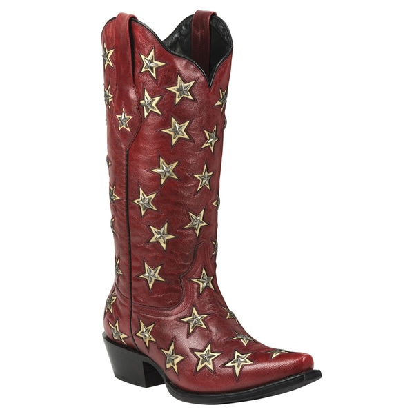 Black Star Leather Brazos Red Boot