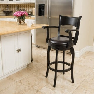 Christopher Knight Home Kolton Armed Bonded Leather Swivel Barstool