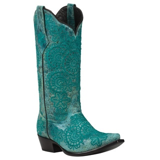 Black Star Leather Medina Turquoise Boot