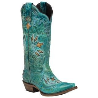 Black Star Leather Hidalgo Turquoise Boot