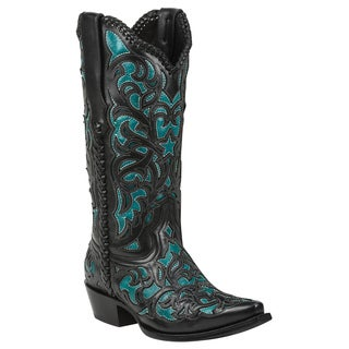 Black Star Leather Webb Turquoise Boot