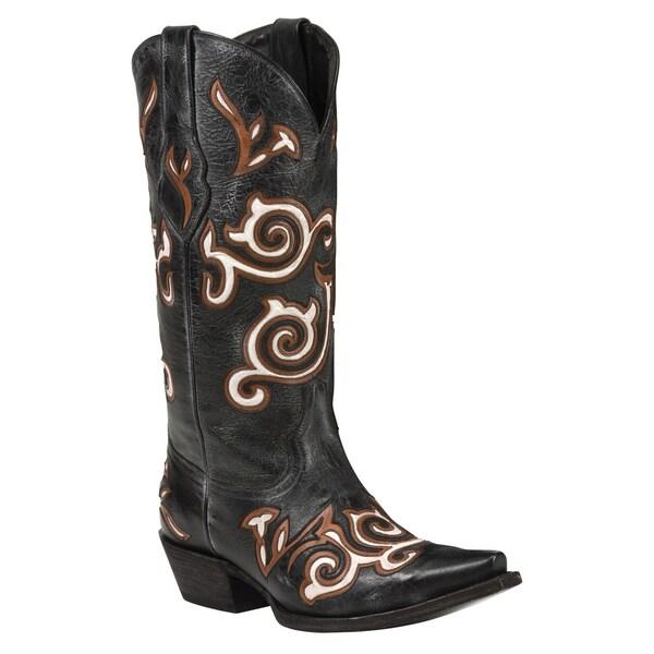 Black Star Leather Maverick Black/ Bone Boot