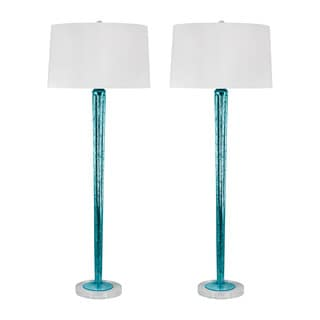 Mercury Glass Candlestick Lamp in Blue (Set of 2)