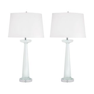 Luna Glass Table Lamp in White (Set of 2)