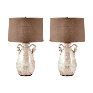 Twisted Handle Terra Cotta Table Lamp in Cream (Set of 2)