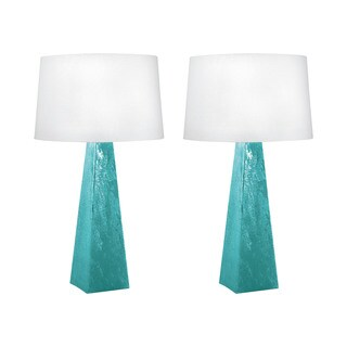 Blue-Green Mercury Glass Table Lamp (Set of 2)