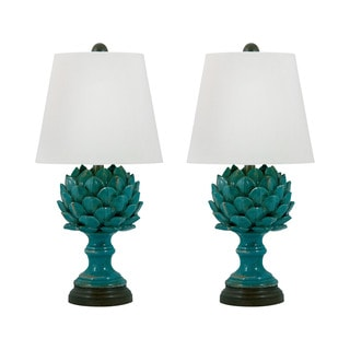 Terra Cotta Artichoke Table Lamp in Blue (Set of 2)