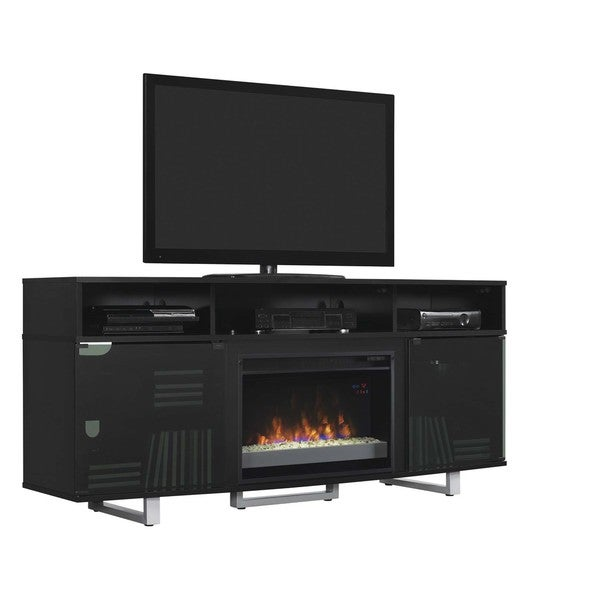 Enterprise Lite Contemporary TV Stand with 26 Inch Electric Fireplace, Gloss Black