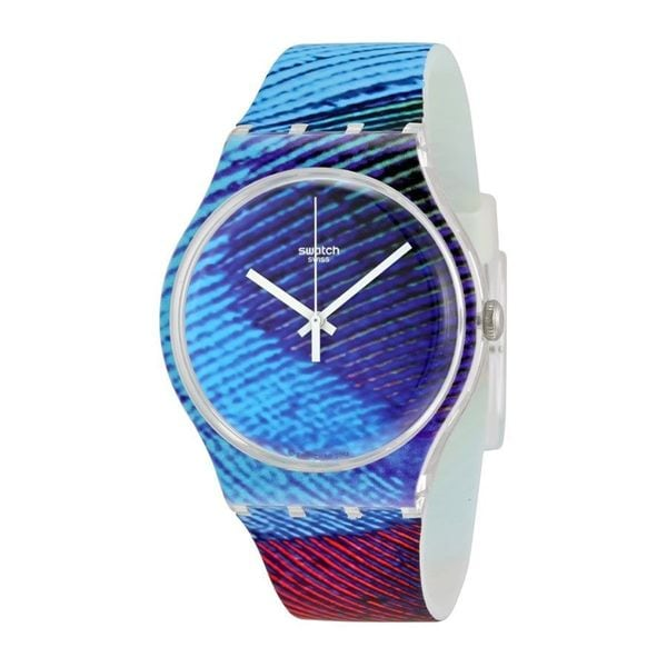 Swatch Unisex SUOK113 'Originals Peacobello' Colorful Silicone Watch