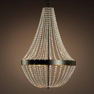 Noelle Crystal 22-inch Black Chandelier with Edison Bulbs