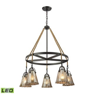 Elk Hand Formed Glass 5-light LED Chandelier in Oil Rubbed Bronze
