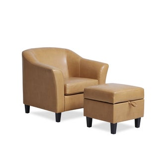Toledo Caramel Club Chair and Ottoman