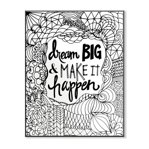 Dream Big and Make it Happen DIY Coloring Wall Plaque
