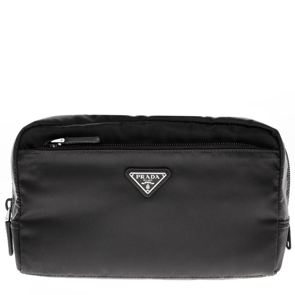 Prada Vela Black Double Zip Cosmetic Pouch