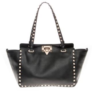 Valentino Small Black Leather Rockstud Tote