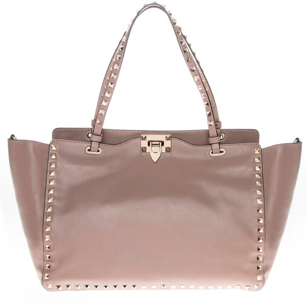 Valentino Rockstud Mauve Leather Tote