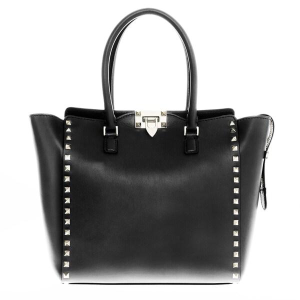 Valentino Rockstud Black Double Handle Bag