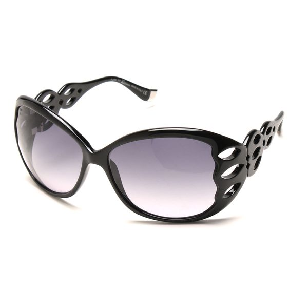 John Galliano JG0001s Black Plastic Large Frame Cutout Sunglasses