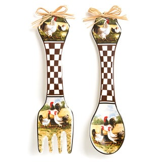 Rooster Design Wall Spoon and Fork Set