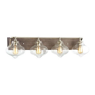 Elk Kelsey 4-light Vanity in Weathered Zinc With Polished Nickel Accents