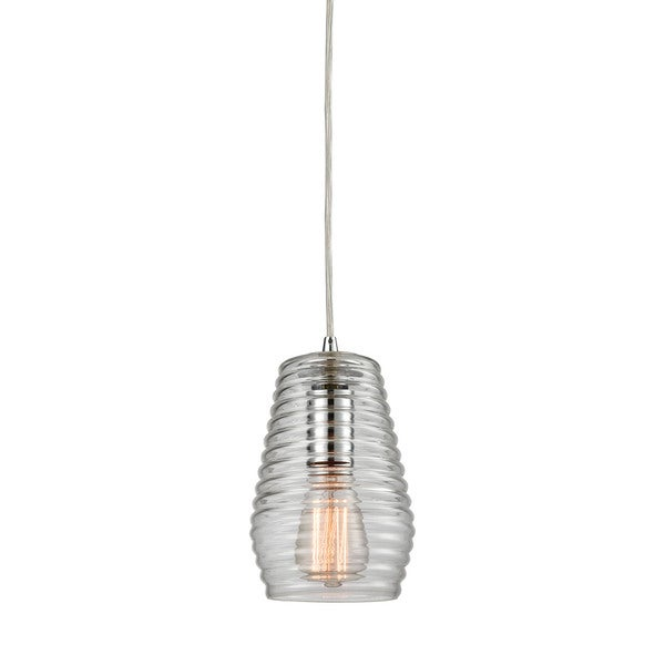 Elk Ribbed Glass 1-light LED Pendant in Polished Chrome 17475045