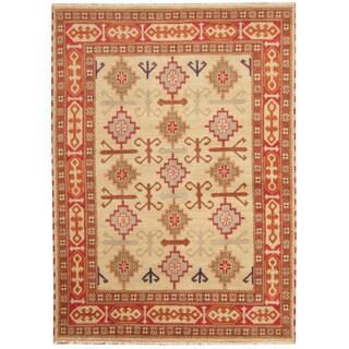 Herat Oriental Indo Hand-knotted Tribal Kazak Beige/ Red Wool Rug (5'9 x 8')