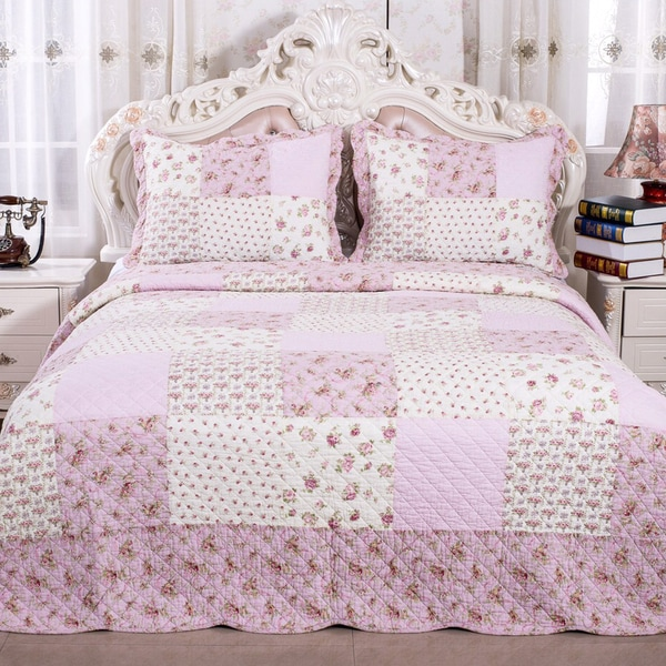 Pink Cotton Reversible Patchwork Floral Quilt and Sham Set