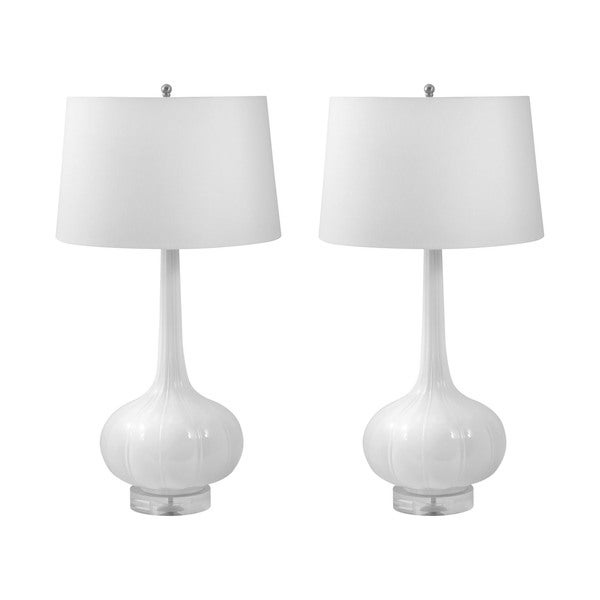 Del Mar Porcelain Table Lamp in White (Set of 2)