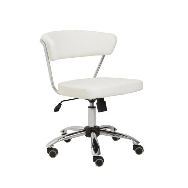 Euro Style White/ Chrome Draco Office Chair