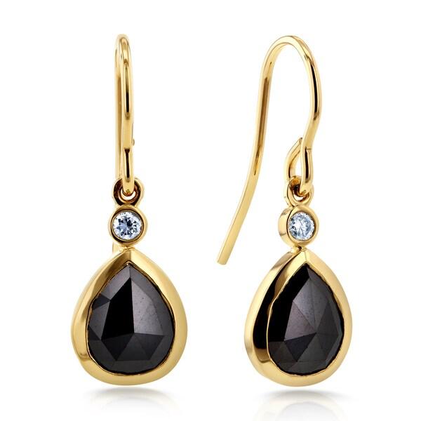 Annello 14k Yellow Gold 2 1/2ct TDW Rose Cut Pear Shape Black Diamond Fish Hook Earrings (G-H, I1-I2)