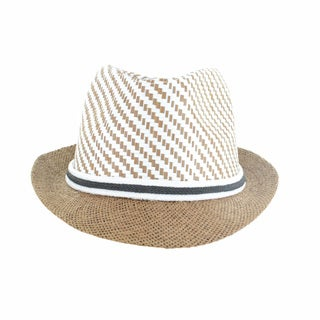 Faddism Men's Fashion Straw Stingy Brim Mosaic Fedora Hat