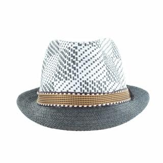 Faddism Men's Fashion Straw Brim Plaid Fedora Hat