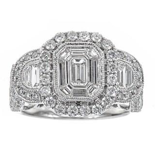 14k White Gold 1 7/8ct TDW Diamond Square Ring (H-I, SI1-SI2)