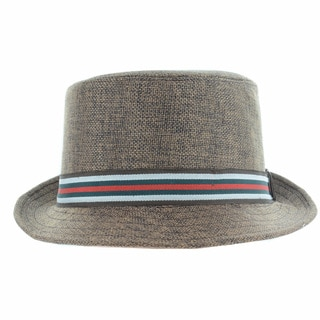 Faddism Men's Fashion Fabric Fedora Hat with Striped Ribbon