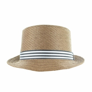 Faddism Men's Fashion Straw Fedora Hat With Striped Ribbon
